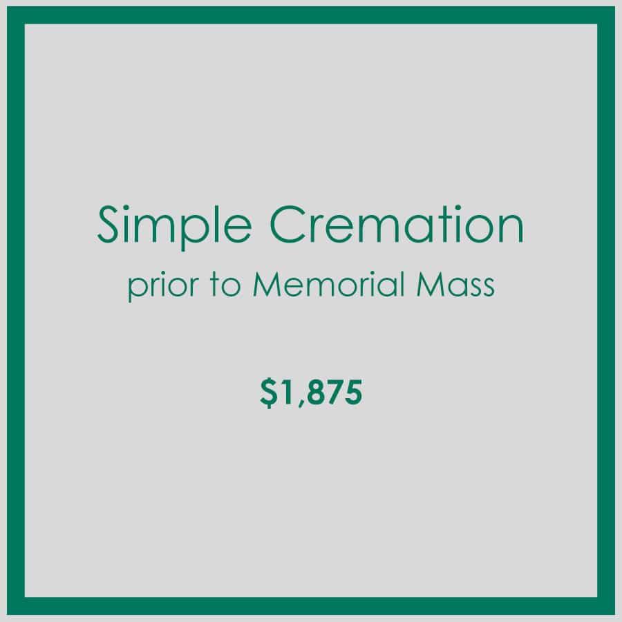 Georgial Simple Cremation Prior to Memorial Mass