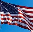 American Flag flying on a flagpole